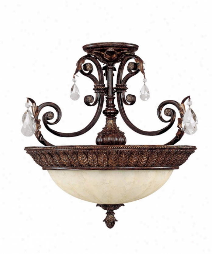 Capital Lighting 3687cb Sheffield 3 Light Semi Flush Mount In Chesterfield Brown With CrystalS et Sold Separately Crystal