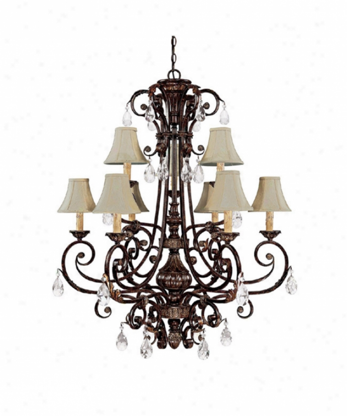Capital Lighting 36899ccb-413 Sheffield 9 Light Two Tier Chandelier In Chesterfield Brown With Crystal Value Sold Separately Crystal