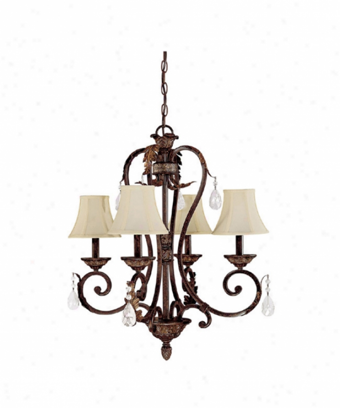 Capital Lighting 3804cb-434 Amberleigh 4 Light Single Tier Chandelier In Chesterfield Brown With Crystal Set Sold Separately Crystal