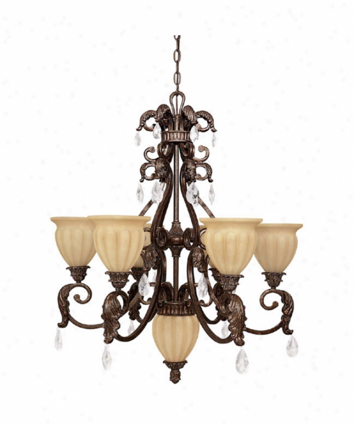 Capital Lighting 3816gb-262 Verona 7 Light Single Tier Chandelier In Gilded Bronze With Sienna Scavo Glassincluded Crystal Set Crystal