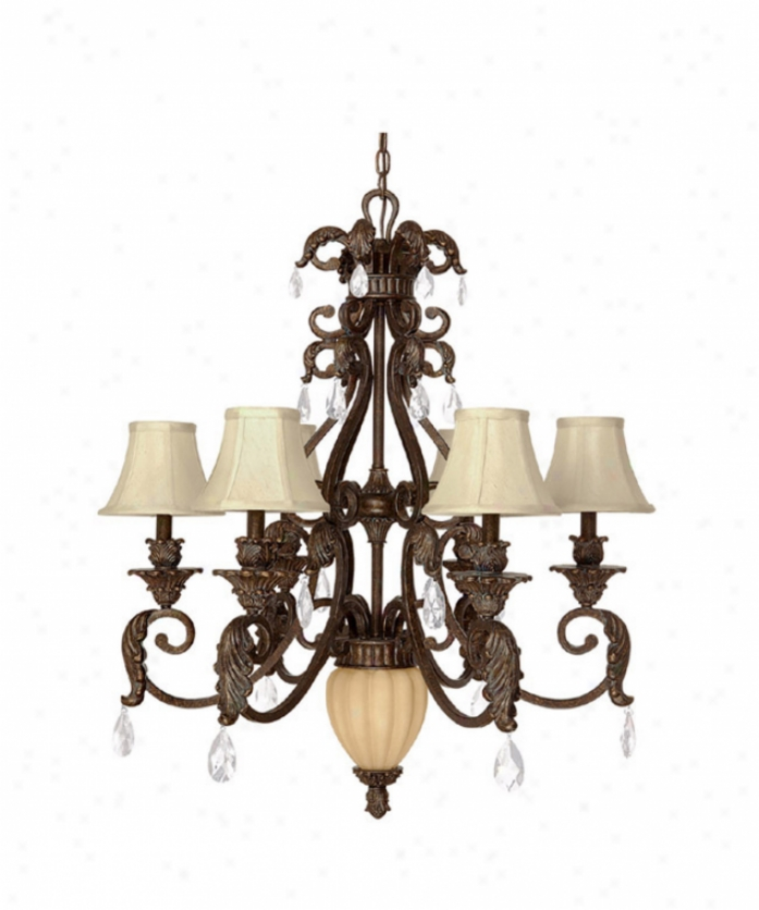 Capital Lighting 3826gb-421 Verona 7 Light Single Tier Chandelier In Gilded Bronze With Included Crystal Set Crystal