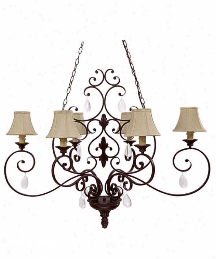 Capital Lighting 4137mbz-421 Brandon Hall 6 Light Single Tier Chandelier In Mediterrranean Bronze With Crystal Set Sold Separately Crystal