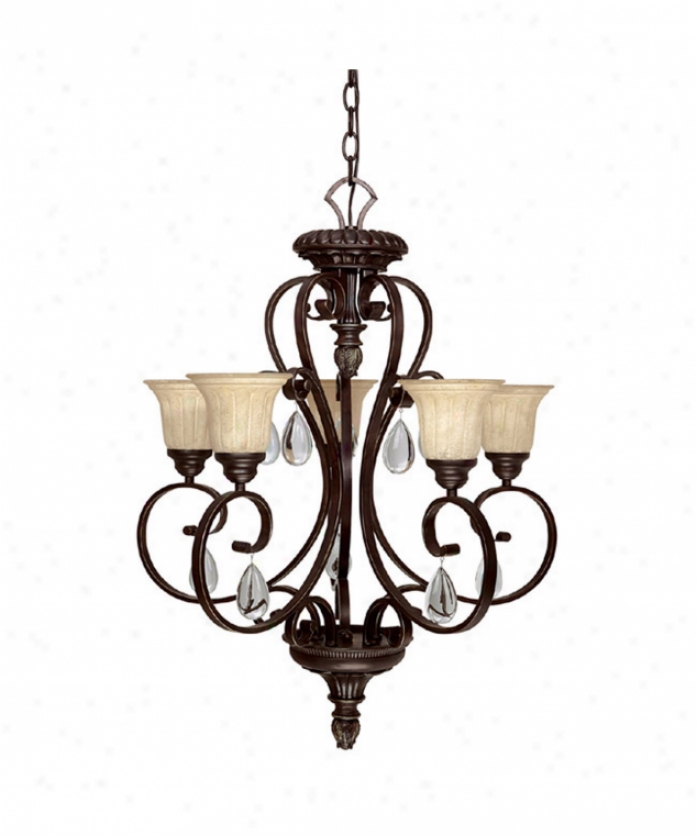 Capital Libhting 4145mbz-270 Brandon Hall 5 Light Single Tier Chandelier In Mediterranean Bronze With Rust Scavo Glasscrystal Set Sold Separately Crystal