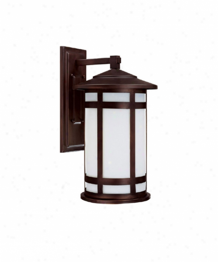 Capital Lighting 9953bb-gu Mission Hilps Energy Smart 1 Light Ohtdoor Wall Light In Burnished Bronze With Frosted Seeded Glass