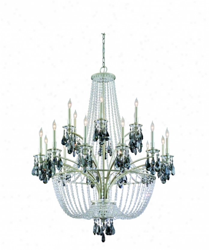 Corbett Lighting 133-018 La Scala 18 Light Large Foyer Chandelier In Silver Leaf With Faceted Smoke Plated Crystal Crystal