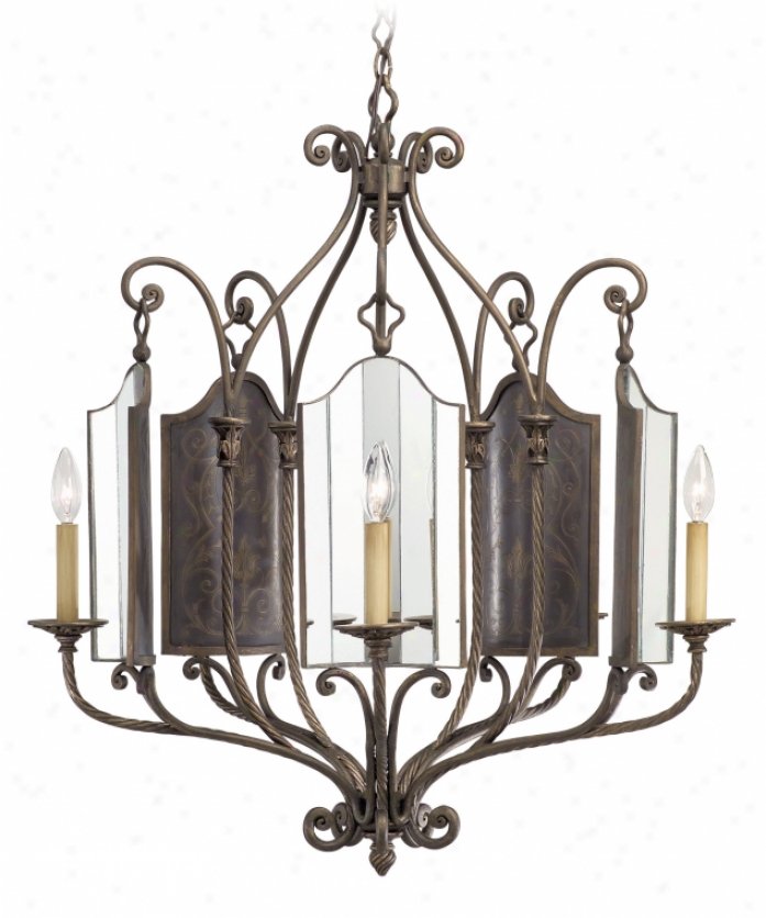 Corbett Lighting 23-05 Marquis 5 Light Single Tier Chandelier In French Bronze With Etched Mirror Glass