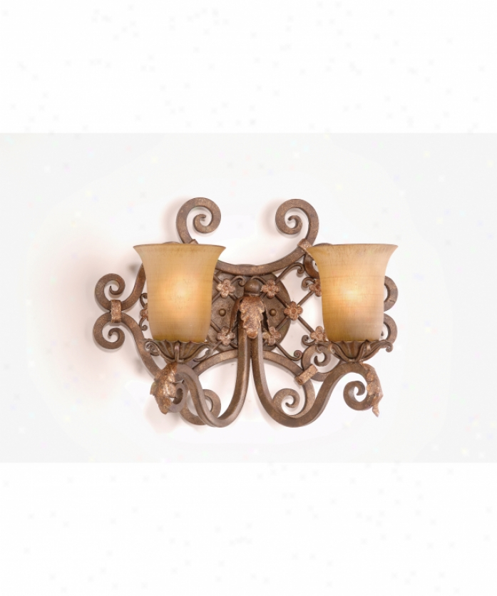 Corbett Lighting 24-62 Del Mar 2 Light Bath Vanity Light In Palace Bronze With Amber Cloth of flax Glass Glass