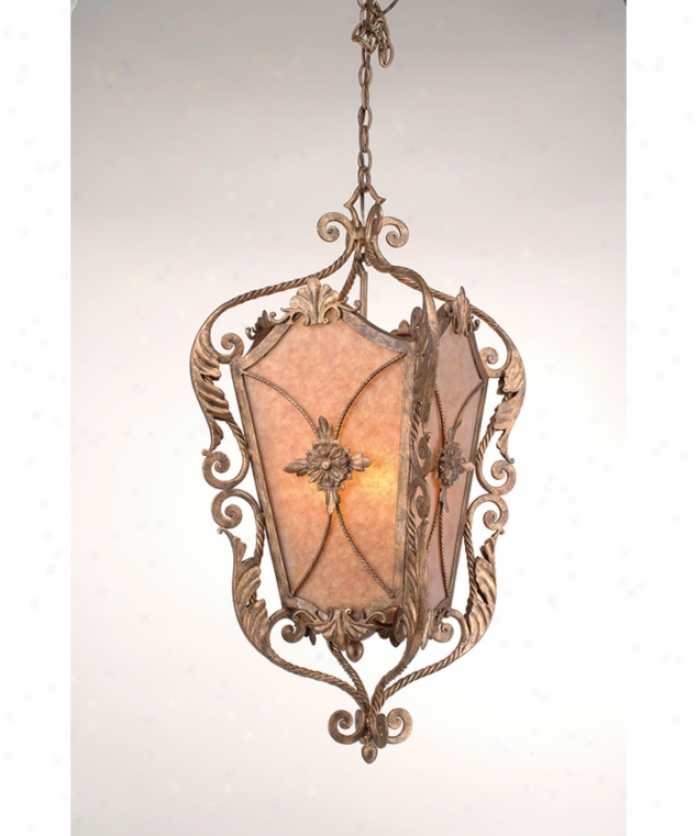 Corbett Lightnig 33-44 Neopolitan Interior 4 Light Foyer Lantern In Neopolitan With Marbled Amber Glass Glass
