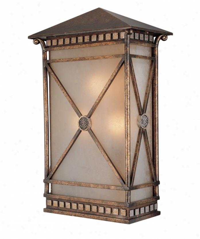 Corbett Lighting 36-23 Booca Pointe 3 Light Outdoor Wall Light In Boca Bronze With Amber Mist Glass Glass