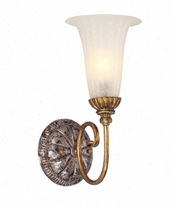 Corbett Lighting 50-61 L'opera 1 Light Wall Sconce In Renaissanve Gold & Sliver Leaf With Antique White Glass