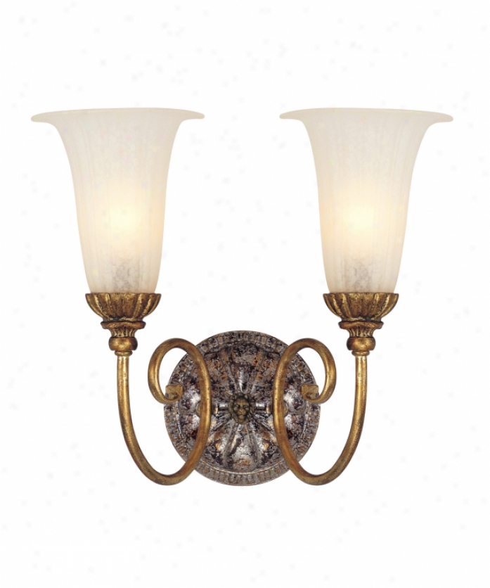 Corbett Lighting 50-62 L'opera 2 Light Bath Vanity Light In Renaissnace Gold & Sliver Leaf With Antique Whjte Glass