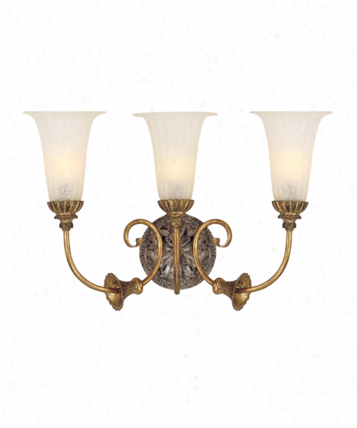 Corbetr Lighting 50-63 L'opera 3 Light Bath Emptiness Light In Renaissance Gold & Sliver Leaf With Antique White Glass