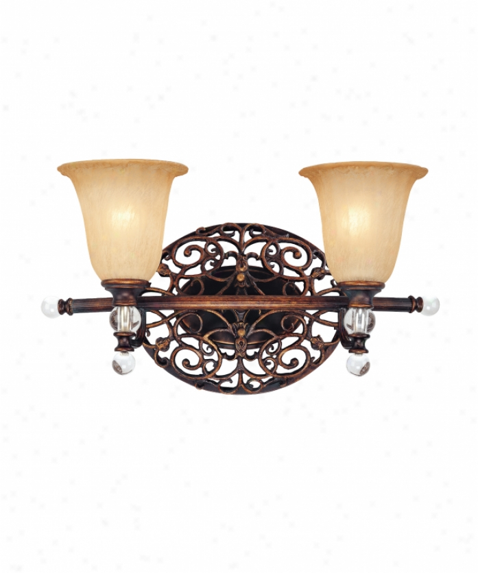 Corbett Lighting 56-62 Gazebo 2 Light Bath Idle show Light In Florentine Bronze With Gradated Amber Piastra Glase