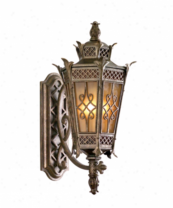 Corbett Lighting 58-22 Avignon 3 Light Outdoor Wall Light In Avignon Bronze With Two Toned Amber Glass