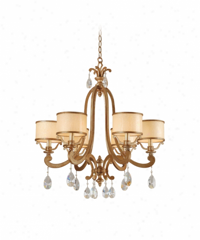 Corbett Lighting 71-06 Roma 6 Loose Single Tier Chandelier In Antique oRman Silver With Cream Ife Glass Glassclear Crystals Crystal
