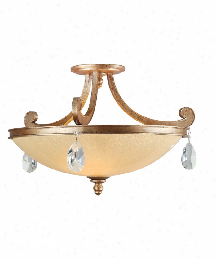 Corbett Lighting 71-33 Roma 3 Light Semi Flush Mount In Antique Roman Silver With Cream Ice Glass Glassclear Crystals Crystal