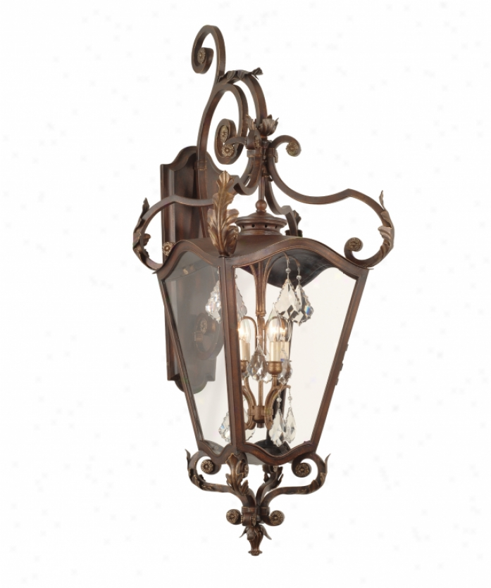 Corbett Lighting 75-23 St. Tropez 4 Light Outdoor Wall Lightt In Ancient rarity Bronze With Gold Highlights With Clear Glass Glassversailles Cryxtals Crystal