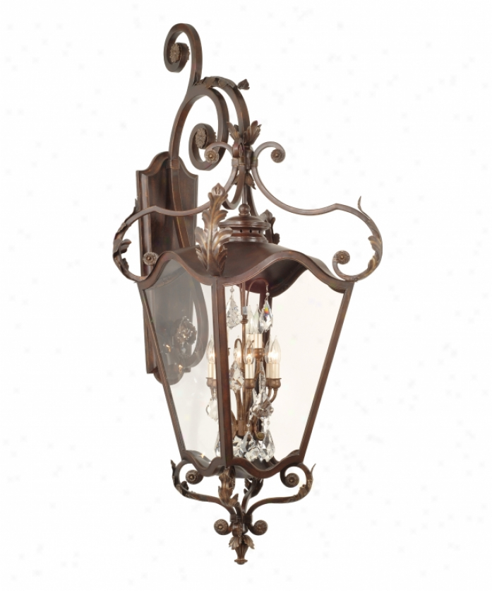 Corbett Lighting 75-24 St. Tropez 9 Light Outdoor Wall Light In Antique Bronze With Gold Highlighrs With Clear Glass Glassversailles Crystals Crystal