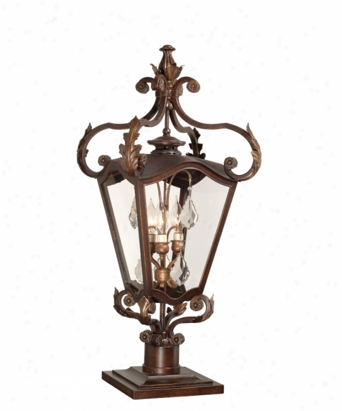 Corbett Lighting 75-82 St. Troepz 3 Light Outdoor Post Lamp In Old Brown With Gold Highpights With Clear Glass Glassversailles Crystals Crystal