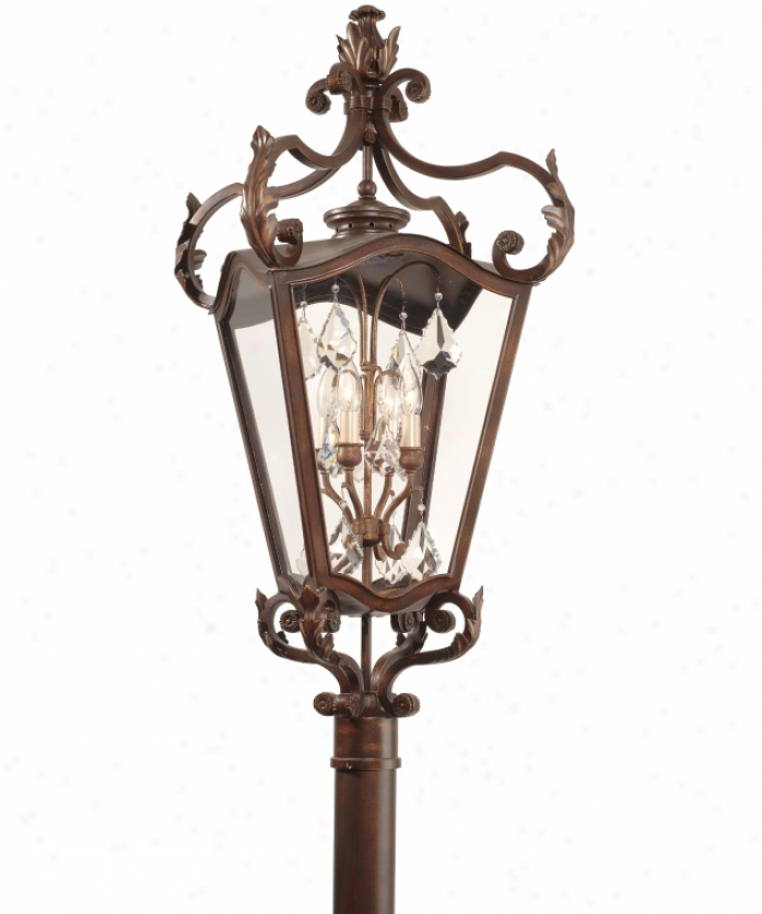 Corbett Lighting 75-83 St. Tropez 4 Light Outdoor Post Lamp In Antique Bronze With Godl Highlights With Clear Glass Glassversailles Crystals Crystal