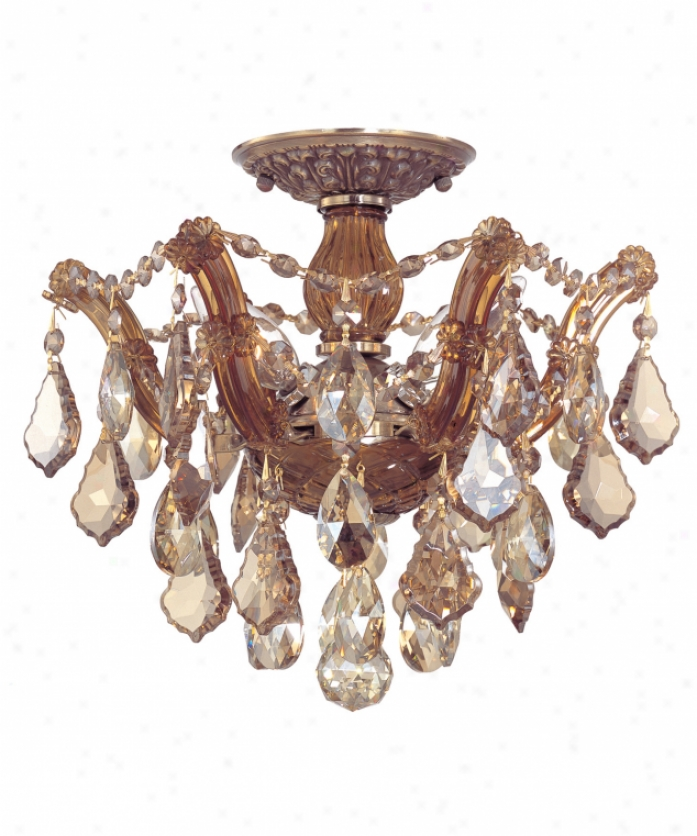 Crystorama 4430-ab-gts Maria Theresa 3 Whitish Semi Flush Mount In Antique Brass With Golden Teak Swarovski Elements Crystal