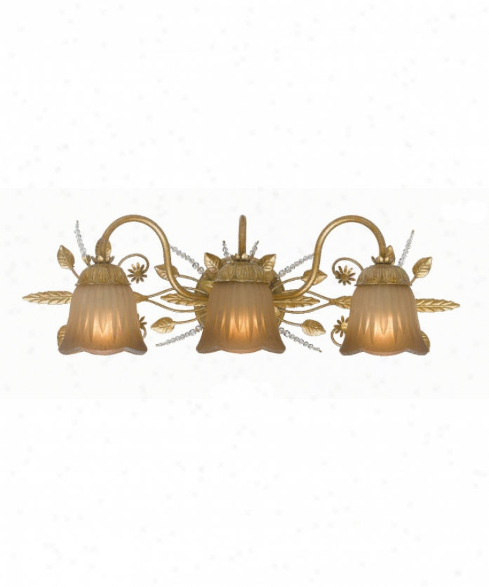Crystorama 4743-gl Primrose 3 Light Bath Vanity Light In Gold Leaf With Tea Stained Glassswarovski Spectra Beads Crystal