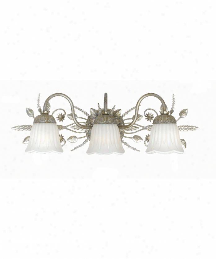 Crystorama 4743-sl Primrose 3 Light Bath Vanity Light In Silver Leaf With White Glassswarovski Spectra Beads Crystal