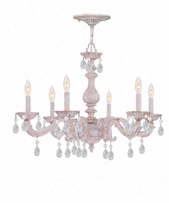 Crysto5ama 5036-aw-gts Sutton 6 Light Single Tier Chandelier In Ancient rarity White With Excellent Teak Swarovsmi Strass Crystal