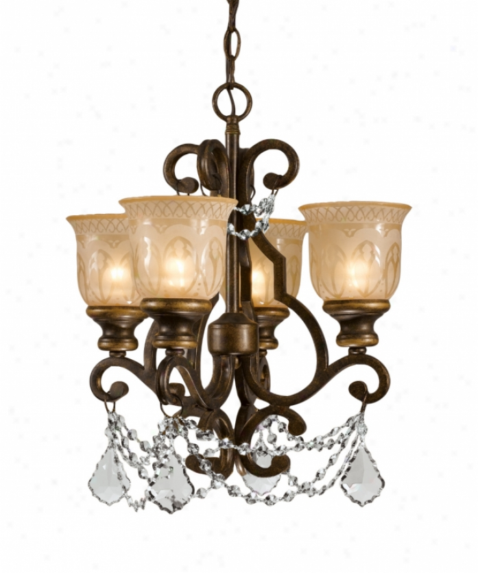 Crystorama 7504-bu-cl-mwp Norwalk 4 Light Single Tier Chandelier In Bronze Umber With Hand Pianted Amber Glasshand Poished Crystal