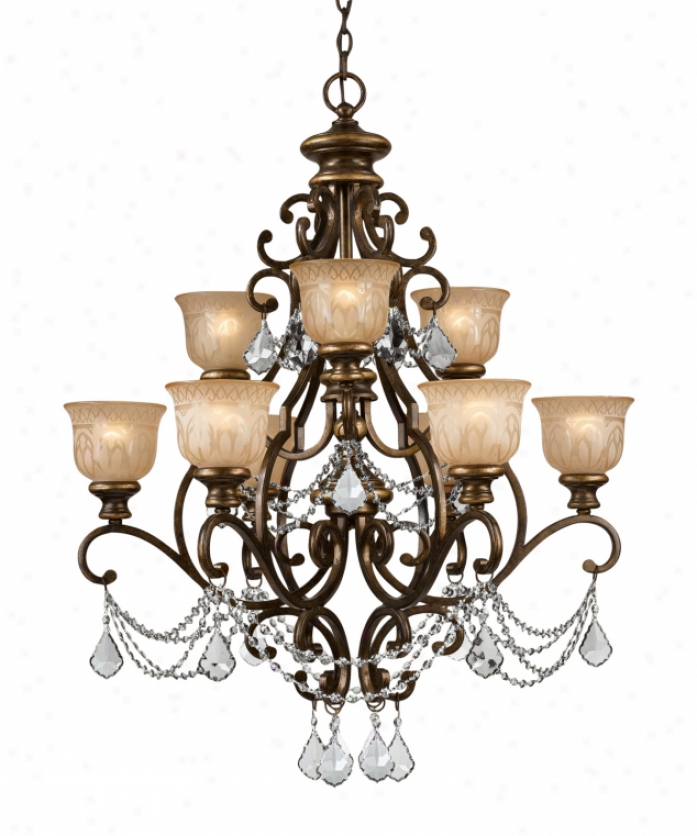 Crystorama 7509-bbu-cl-mwp Norwalk 9 Light Two Tier Chandelier In Bronze Umber With Hand Pianted Amber Glaashand Polished Crystal