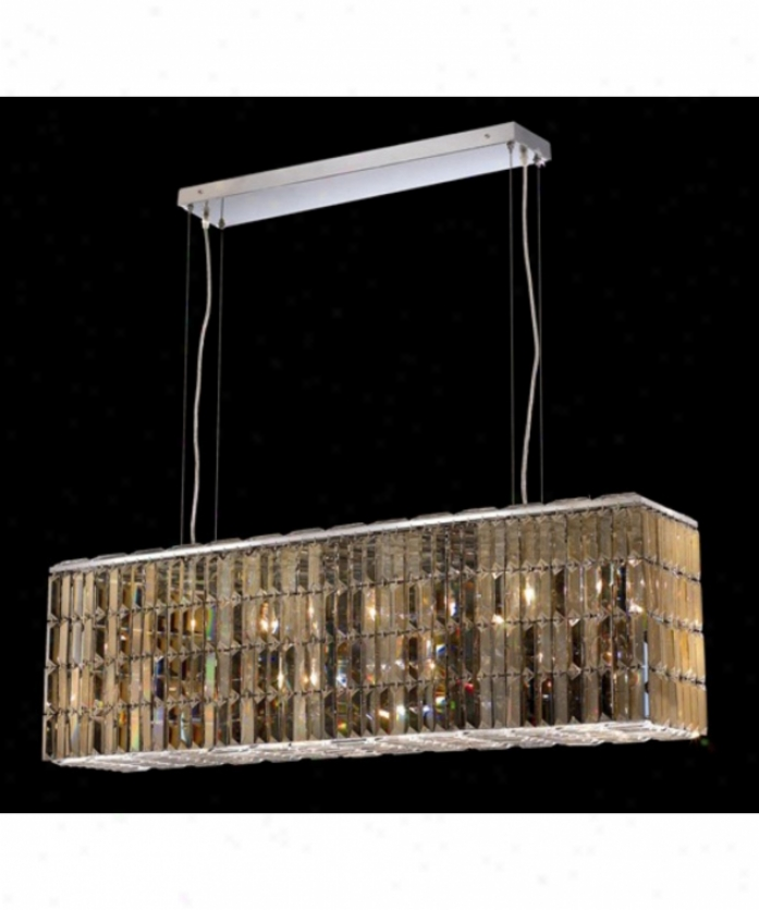 Elegant Lighting 2018d44c-gt-rc Maxim 8 Light Ceiling Pendant In Chrome With Golden Teak (smoky) Royal Cut Crystal