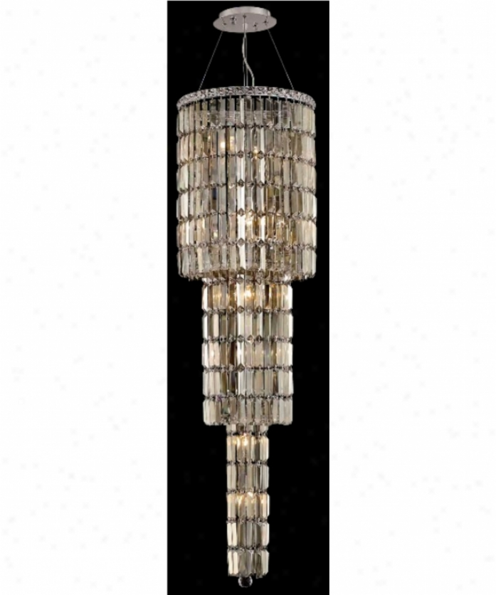 Elegant Lighting 2030g54c-gt-ss Maxim 12 Ligjt Ceiling Pendant In Chrome With Golden Teak (smoky) Strass Swarovski Crystal