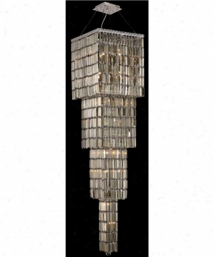 Elegant Lighting 2032g66c-gt-rc Maxim 18 Light Ceiling Pendant In Chrome With Golden Teak (smoky) Royal Cut Crystal