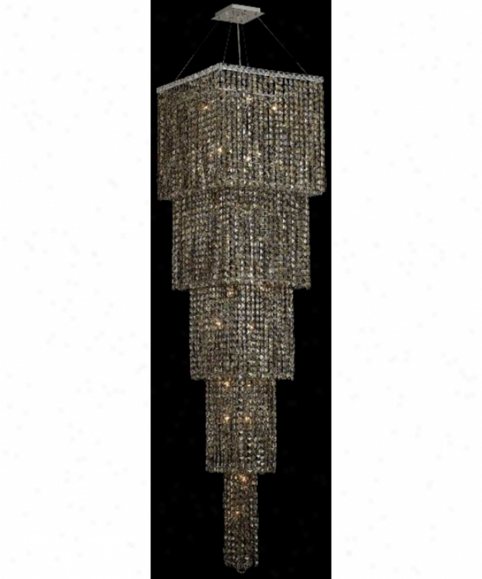 Elegant Lighting 2033g80c-gt-rc Maxim 22 Light Ceiling Pendant In Chrome Through  Golden Teak (smoky) Royal Cut Crystal