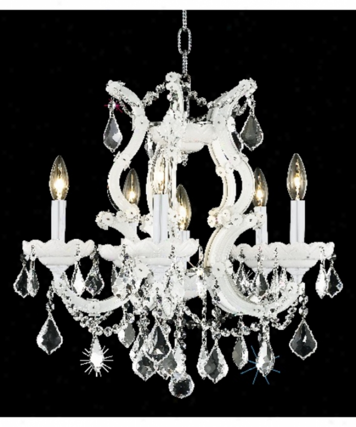 Elegant Lighting 2800d20wh-sa Maria Theresa 6 Light Single Row Chandelier In White With (clear) Spectra Swarovski Crystal