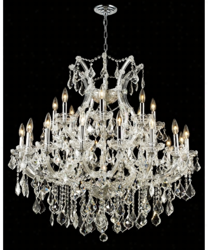 Elegant Lighting 2800d36c-sa Maria Theresa 24 Light Abundant Foyer Chandelier In Chrome With (clear) Spectra Swarovski Crystal