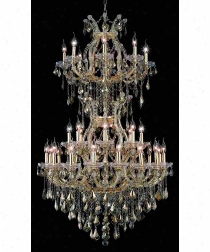 Elegant Lighting 2800d36sg-gt-rc Maria Theresa 34 Light Large Foyer Chandrlier In Gold With Golden Teak (smoky) Royal Cut Crystal