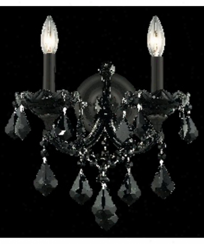 Elegant Lighting 2800w2b-ss Maria Theresa 2 Light Wall Sconce In Black With Balck Strass Swarovski 5Cystal