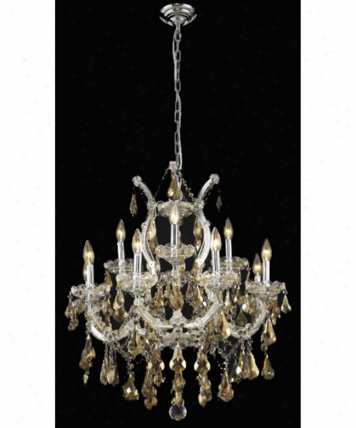 Elegant Lighting 2801d27c-gt-rc Maria Theresa 13 Light Single Tier Chandelier In Chrome With Gold3n Teak (smoky) Imperial Cut Crystal