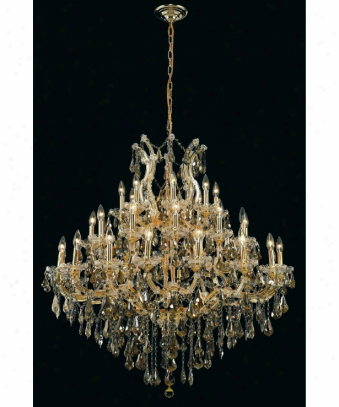 Elegant Lighting 2801g44g-gt-rc Maria Theresa 37 Light Large Foyer Chandelier In Gold With Golden Teak (smoky) Royal Cut Crystal