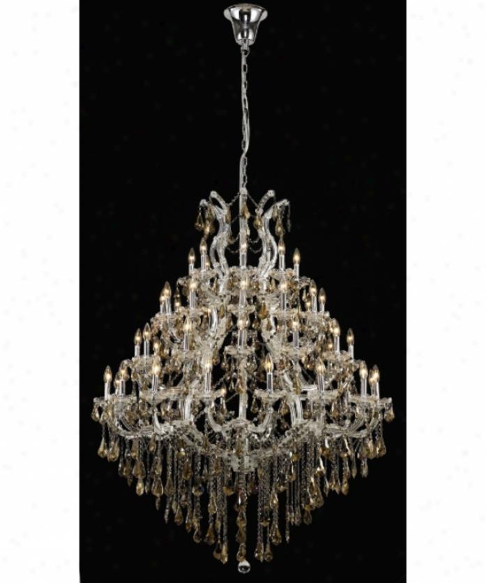 Elegant Lighting 2801g46c-gt-rc Maria Theresa 49 Light Large Foyer Chandelier In Chrome With Golden Teak (smoky) Royal Cut Crystal