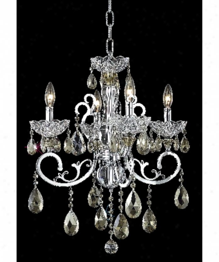 Elegant Lighting 2830d20c-gt-rc Aria 4 Light Single Tier Chandelier In Chrome With Golden Teak (smoky) Royal Cut Crystal
