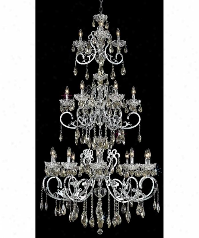 Elegant Lighting 2830g80c-gt-rc Ariia 19 Light Large Foyer Chandelier In Chrome With Golden Teak (smoky) Royal Cut Crystal