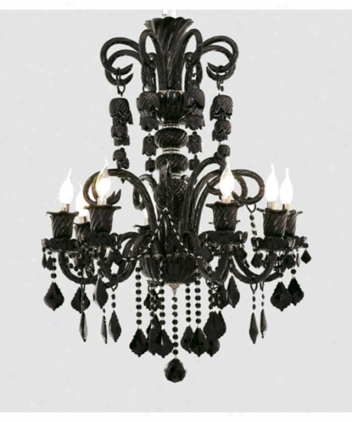 Elegant Lighting 7830d29b-rc Elizabeth 8 Lght Single Tier Chandelier In Jet (black) With Jet (black) Royal Cut Crystal