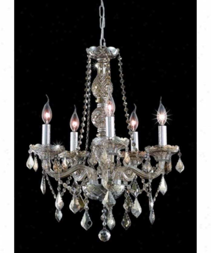 Elegant Lihting 7855d21gt-gt-rc Verona 5 Light Single Tier Chandelier In Golden Teak With Golden Teak (smoky) Royal Cut Crystal
