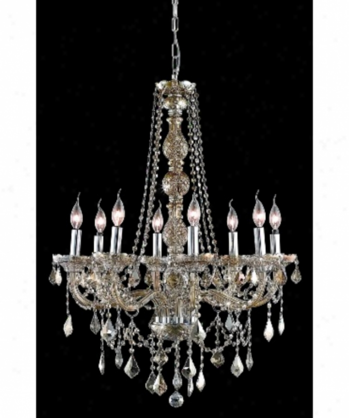 Elegant Lighting 7858d28gt-gt-rc Verona 8 Light Single Tier Chandelier In Golden Teak With Golden Teak (smoky) Royal Cuut Crystal