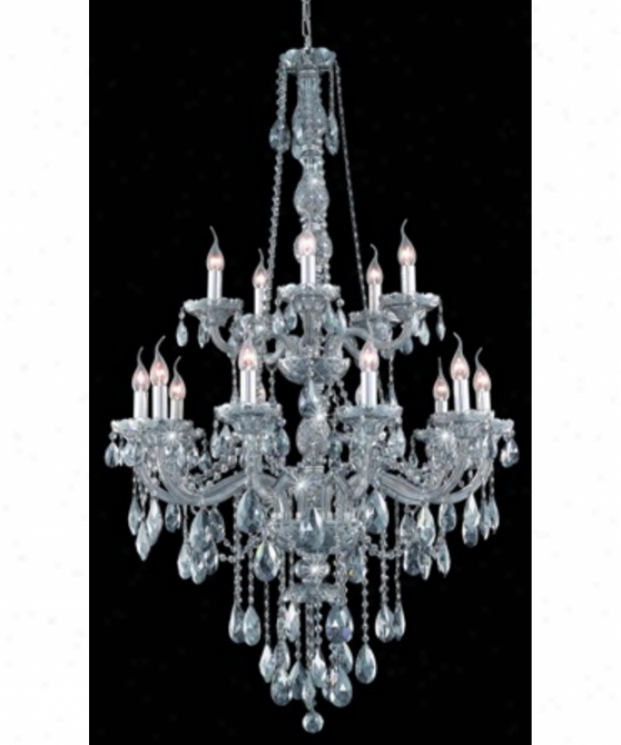 Elegant Ligting 7915g33ss-ss-rc Verona 15 Light Large Foyer Chandelier In Silver Shade Through  Soft and clear  Shade (grey) Royal Cut Crystal