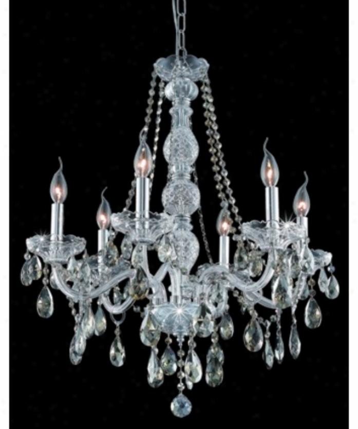 Elegant Lighting 7956d24c-gt-rc Verona 6 Light Single Tier Chandelier In Chrome With Golden Teak (smoky) Royal Cut Crystal