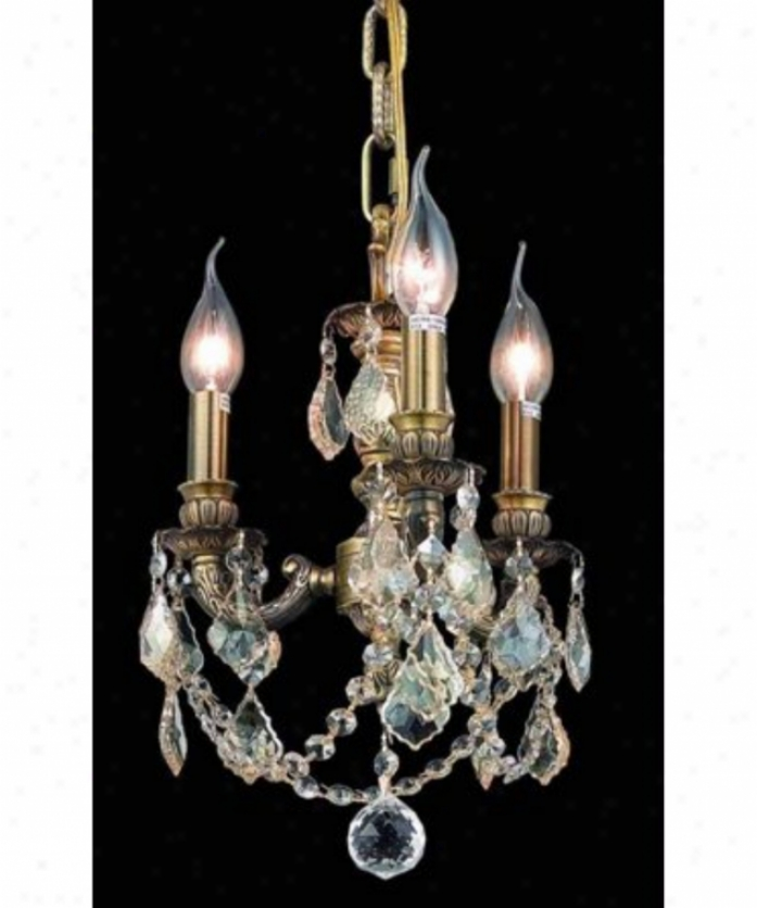 Elegant Lighting 9103d10ab-gs-rc Lillie 3 Light Mini Chandelier In Antique Bronze With Golden Shadow (champagne) Royal Cut Crystal