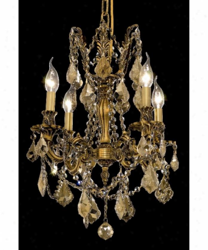 Elegant Lighting 9204d17fg-gt-rc Rosalia 4 Light Mini Chandelier In Frencch Gold With Golden Teak (smoky) Royal Cut Crystal